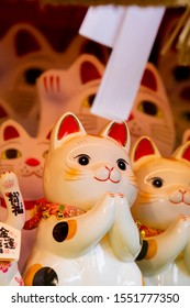 Ceramic Japanese lucky cat in the display case Japanese: Lucky Cat Chinese: Peace, lucky blessing, good luck, good fortune, ten thousand two gold, royal cat