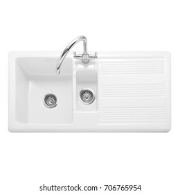 Ceramic Kitchen Sink Isolated on White Background. White Double Bowl Inset Sink. Kitchen Sink Top View. Built-In Appliances. Kitchen Appliance. Domestic Appliances