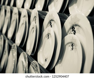Ceramic made plates isolated object unique photo