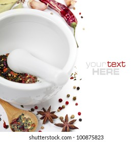 Ceramic Mortar with Pestle and fresh spices (with easy removable sample text)