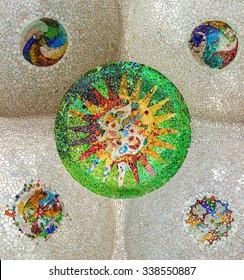 ceramic mosaic sun at Guell Park