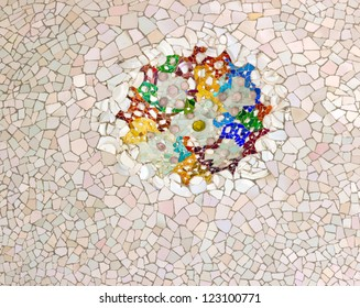 ceramic ornate mosaic ceiling park Guell in Barcelona - Spain