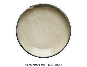 Ceramic plate, Empty plate with granite texture, View from above isolated on white background with clipping path