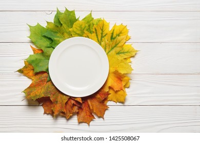 Ceramic plate and fallen leaves on a white wood background autumn thanksgiving top.