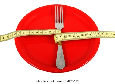 Ceramic plate with fork and measuring tape. Symbolize a diet and the control over meal.