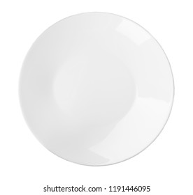 Ceramic plate with space for text on white background, top view. Washing dishes