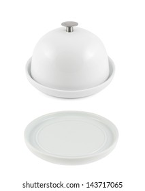 Ceramic plate with and without cover isolated over white background