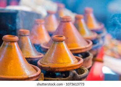 Ceramic pot for Tagine street food in Morocco