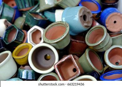 Ceramic pot/ceramic/Small colorful ceramic pots are prepared to grow bonsai of Japanese merchants