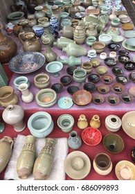 Ceramic pots and  bowls at Pangiayuan market in Beijing, China