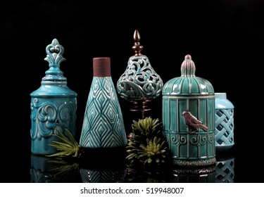 Ceramic Pots, Jars, Jugs, Vases, Bottles and Candle Holders Collection -  Cyan, Green and Blue Color,  Isolated on Reflective Black Surface Background