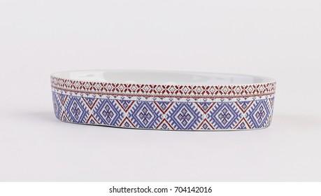 Ceramic soap dish isolated on white background