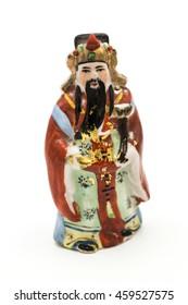 Ceramic Statue of Chinese Gods isolated on white background; God of Prosperity (Lu,Lok)