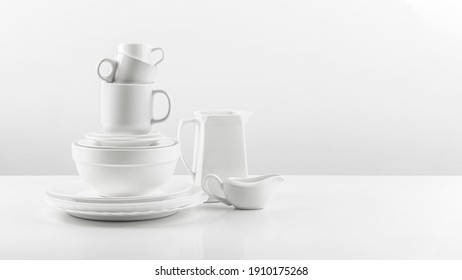 ceramic tableware collection kitchen with white backround.