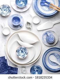 Ceramic tableware on white background.