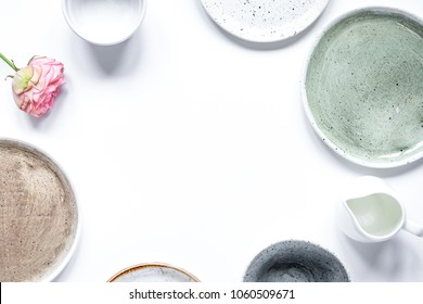 ceramic tableware top view on white background mock up