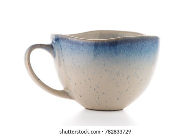 Ceramic tea cup isolated on white background.