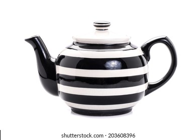 Ceramic teapot Black and White, isolated on white background