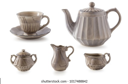 Ceramic Teapot set isolated on a white background.