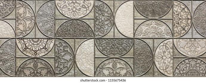 ceramic tile, abstract mosaic ornamental geometric pattern