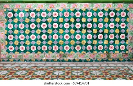 Ceramic tile design on the facade of a traditional peranakan chinese shophouse in asia