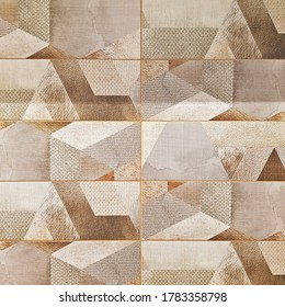Ceramic tile with geometric pattern for wall and floor decoration. Concrete stone surface background. Texture for interior design project.