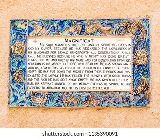 Ceramic tile of the  Magnificat, the prayer sung by the Virgin Mary at this site, the Church of the Visitation in Ein Kerem, near Jerusalem.  She was visiting her cousin Elizabeth