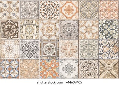 Ceramic tile pattern elegant vintage and Tuscany flowers. Beautiful colored background for design and fashion with decorative elements. Ornate floral decor for wallpaper. Tuscany or Italian style