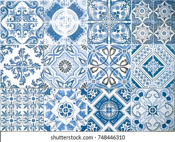 Ceramic tile pattern elegant vintage and Tuscany flowers. Beautiful colored background for design and fashion with decorative Arabesque elements. Tuscany or Italian ornate floral decor for wallpaper.