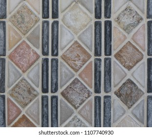 ceramic tile, vintage mosaic pattern, abstract geometry
