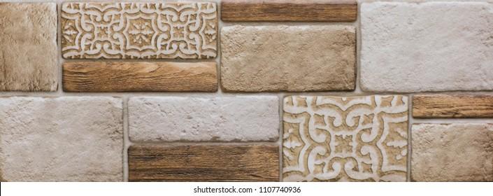 ceramic tile, vintage mosaic pattern, abstract geometry