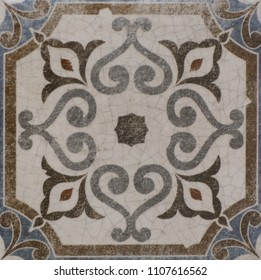ceramic tile, vintage ornate pattern, abstract geometry