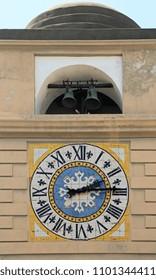 Ceramic Tiles Clock Dial and Bells at Tower in Capri