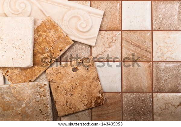 Ceramic tiles of different sizes and colors
