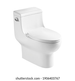 Ceramic Toilet Bowl Isolated on White. Modern Floor Mounted Flush Toilet with Top Spud Side View. Flushing Toilet Soft Closing Seat. Elongated Flushometer Water Closet WC. Bath Design and Innovation