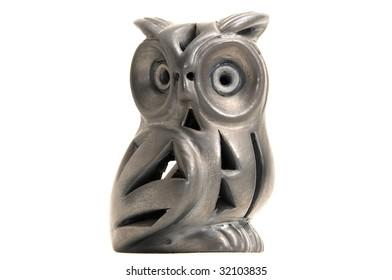 Ceramic toy owl - Isolated on white background