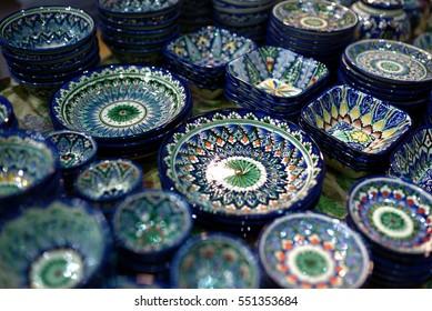 Ceramic utensils, plates and bowls on fair