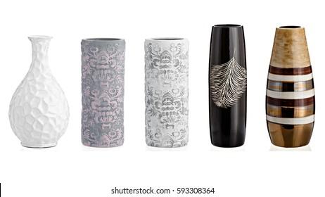 Ceramic vase, collage, on isolated white background.