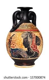 Ceramic vase from Greece isolated on white background.