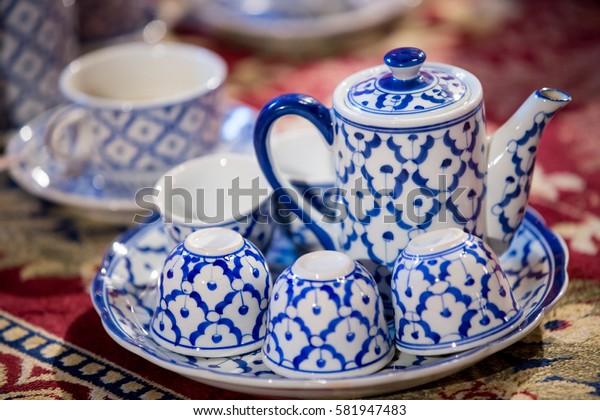ceramic vintage tea pot, Asian tea sets, traditional tableware. Set of Thai porcelain