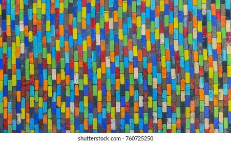 Ceramic wall, rectangular,colourfull