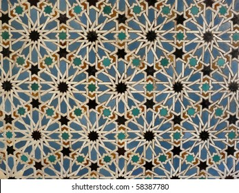 Ceramic wall tiles in the Real Alcazar in Seville, Spain
