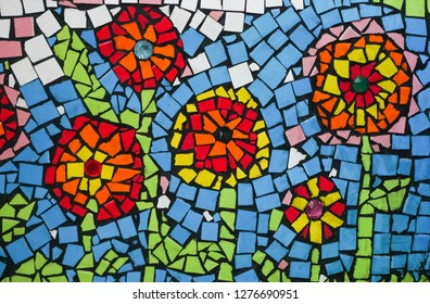 Ceramic wave mosaic flowers made from scrap tile by ancient techniques and architect specialist , colorful and wonderful art abstract background