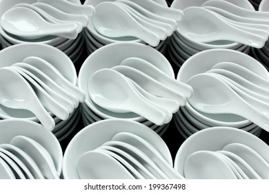 Ceramic white bowls and spoons