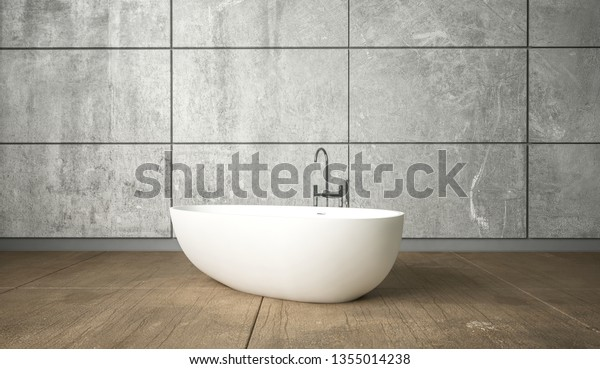 Ceramic White Freestanding Bath Minimalism Bathroom Stock Photo Edit Now 1355014238