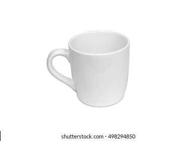 Ceramic white mug isolated on white background