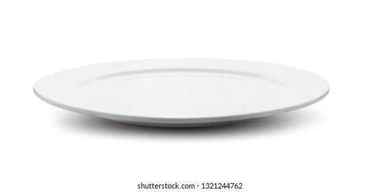 ceramic white plate isolated on white background