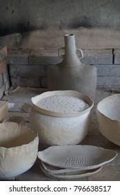 Ceramic wood kiln. Work process. Pottery design
