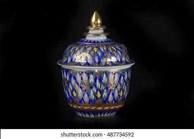 Ceramic-Benjarong on black background