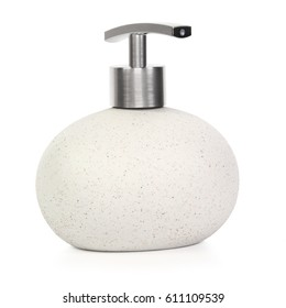 ceramics bottle with liquid soap on a white background